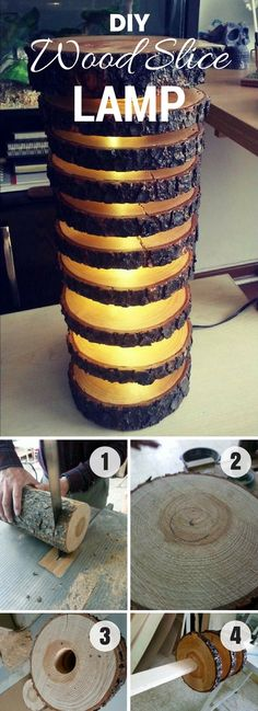 How to make a #DIY Wood Slice Lamp. Neat project idea! #homedecorideas