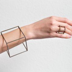 Cube Bracelet by Geometric bracelet by Bracelets For Men, Silver Bracelets, Bangle Bracelets, Bangles, Bracelet Men, Renegade Craft Fair, Original Design, Geometric Jewelry, Geometric Art