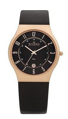 Skagen Black Leather & Rose Gold Tone Watch