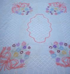 Vtg 50s CHENILLE CUTTER Bedspread PINK PURPLE BLUE Flower Basket & Lattice 86X94