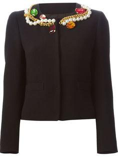 BOUTIQUE MOSCHINO Embellished Collar Jacket. #boutiquemoschino #cloth #jacket
