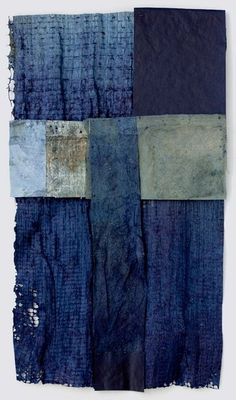 from the series Driftless Reveries; lost and found    by Mary Hark    Handmade flax and abaca papers, indigo dye, mixed media