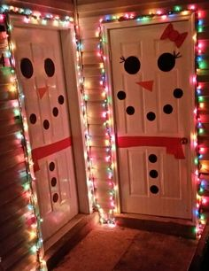 Boy and girl snowman doors! So cute for Christmas.