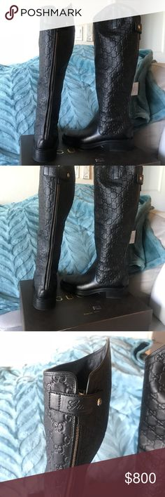 """Gucci Guccissima Leather Riding Boots How hot are these boots! Brand new with Tags (only tried on around house)  Black Leather Riding boots with Guccissima G's , zip up back , with """"Gucci"""" snap . Gucci Shoes"""