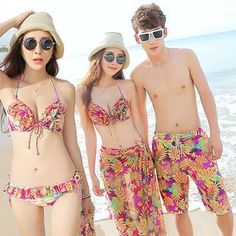 d40a640a68e02 Buy Sweet Splash Couple Set  Ruffle Print Bikini + Cover-Up   Swim Shorts