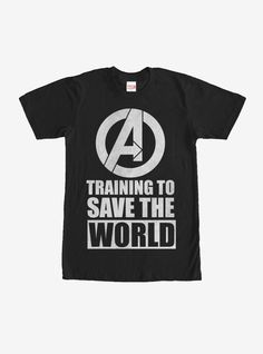 """Never give up on yourself because you're a hero in the making with the Marvel Avengers Training to Save World Black T-Shirt. A classic white print reads """"Training to Save the World"""" below the Avengers logo on this black Avengers shirt. Black Avengers, Avengers Shirt, Marvel Shirt, Marvel Logo, Marvel Avengers, Order T Shirts, Dad To Be Shirts, Boys Shirts, Iron Man Stark"""