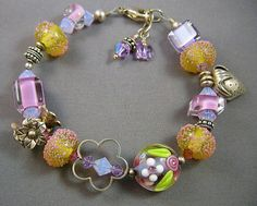 Summer Garden Mauve and Gold Beaded Lampwork by redrosejewelry, $52.00