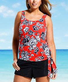 Another great find on #zulily! Red & Navy Amaryllis Blouson Tankini Top - Women & Plus #zulilyfinds