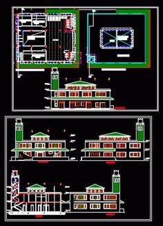 Shot of a dwg mosque - Plan Autocad - Cout Construction Maison, House Construction Plan, Mosque Architecture, Architecture Plan, Bloc Autocad, Title Block, Civil Engineering Design, Model House Plan, Clinic Design