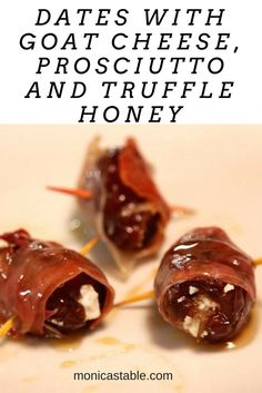 This recipe, Dates with Goat Cheese, Prosciutto and Truffle Honey is one of our favorite appetizers.  How can you go wrong with this combination? #SundaySupper