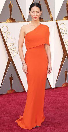Orange off-the shoulder cape Stella McCartney gown - Academy Awards 2016