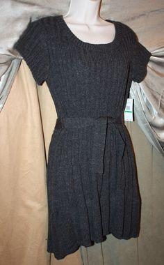 Womens Size L Short Sleeve Belted Sweater Dress by Jessica Simpson MSRP 79.00