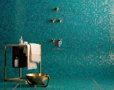 blue mosaic tile on shower floor - Google Search