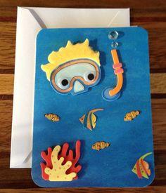 Hamilton's Handmade Kid Friendly Under the Sea Scuba Snorkle Boy with Fish Birthday Card with Happy Birthday Inside Boy Cards, Kids Cards, Summer Crafts, Crafts For Kids, Kids Birthday Cards, Happy Birthday, Quilled Paper Art, Birthday Scrapbook, Fish Crafts