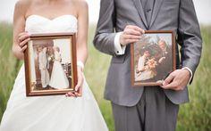 Bruidsfoto met fotolijsten