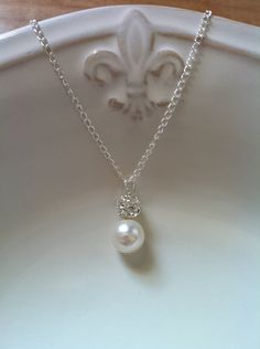 Swarovski Pearl and Rhinestone Necklace, Single Pearl Necklace, Pearl Pendant 0018. $28.00, via Etsy.