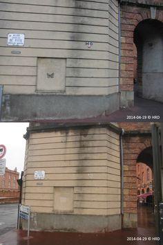 Street Art éphémère (Toulouse (France) - Angle des Allées Charles de Fitte et de la Place intérieure Saint-Cyprien) - vu le 19/04/2014, disparu le 29/04/2014 © Hélène Ricaud-Droisy (HRD)