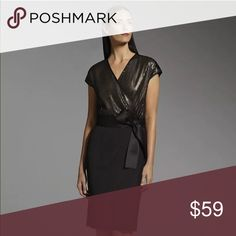 🎁 Elegant Sexy Black Dress Elegant and sexy brand-new Narciso Rodriguez black dress with sequined bodice and faux-wrap design. Black/gold-tone sequin.  Size XL.  Current price firm.  Surplice neckline flatters your figure. Stretchy jersey skirt offers comfortable wear. Coordinating ribbon sash adds a lovely finishing touch.    V-neck Cap sleeves Polyester/spandex Hand wash. Narciso Rodriguez Dresses