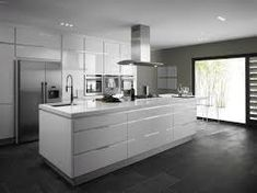 Image result for white kitchen dark floors