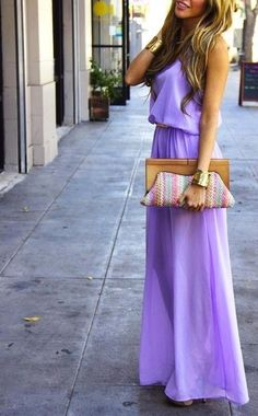 Light Purple Maxi Dress...I Love How The Clutch Is Paired :) Just add an undershirt and it's prefect!