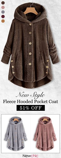 Fleece warm design, get ready for winter with this soft fleece coat from Newchic. A neutral color and cozy hood make it a versatile addition to your wardrobe. Save 51 when you shop now at Newchic. Look Fashion, Winter Fashion, Fashion Outfits, Fashion Women, Jackets Fashion, Coats For Women, Jackets For Women, Women's Jackets, Mode Style