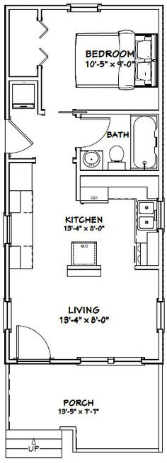 14x32 Tiny House -- #14X32H1P -- 447 sq ft - Excellent Floor Plans
