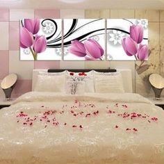 Peça Shipping3 grátis conjuntos da arte da lona belas flores decorativas Tulip pintura de parede abstrata projeta sala parede pictures