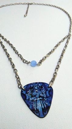 Mens blue guitar pick chain. #etsy #mensjewelry #rockandroll #musiclover #metal ---------Check out this item in my Etsy shop https://www.etsy.com/listing/556798857/guitar-pick-necklace-mens-necklace-blue