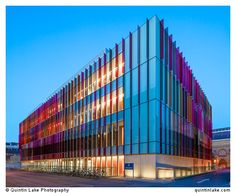 Finned Facade Looks like the direction I'll be heading. Coloured glass fins of Oxford University Biochemistry Building, Oxford, UK. Colour Architecture, School Architecture, Architecture Details, Library Architecture, Amazing Architecture, Facade Design, Exterior Design, Brown Image, Facade Lighting