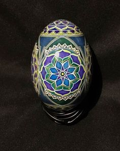 pysanky batik goose egg -  midnight lotus flower mandala
