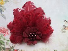 Small Burgundy Marsala Feather & Pearl Vintage Style Hair Clip £11.99