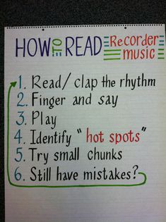 """I like the specificity of this for centers.  Sometimes children don't quite understand that """"banging"""" through it is not the same as playing it effectively. Elementary Music, Recorder Fingering Chart, Sight Singing, Recorder Karate, Recorder Music, Music Teachers, Music Education, Piano Teaching, Teaching Tools"""