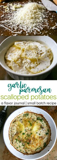 creamy, cheesy, garlic parmesan scalloped potatoes are the perfect side dish for chicken or beef entrees. a small batch recipe for two people is perfect for date night! garlic parmesan scalloped potatoes : a small batch recipe. http://aflavorjournal.com/garlic-parmesan-scalloped-potatoes-a-small-batch-recipe/