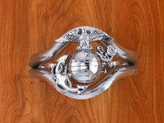 Beautiful 14K White Gold Marine Corps Ring Ladies Design #7