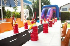 Super awesome, easy to make table runner for a racing or Cars themed birthday party!