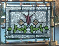 Beveled Victorian Style Stained Glass Panel Window Pink Flower