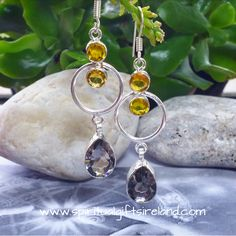 Private: Smoky Quartz and Citrine Unity Circle Earrings