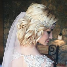 Curly Blonde Bob Bridal Hairstyle