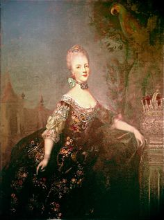 Marie Antoinette, 1768.   (Date uncertain, MA was 13 in the year indicated) By an unknown artist.   Prague, château de Hradčany.