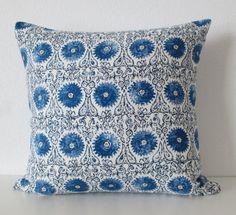Duralee Riya Blend Blue suzani medallion by chicdecorpillows