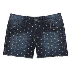 2ND FLOOR Short jeans poá azul e branco