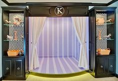 Stage for little girls room by www.ElaineWilliamsonDesigns.com in Dallas, TX #kids #design #stage #girls #room #black #purple #with #monogram #k