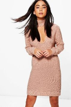 #boohoo Choker Jumper Dress - nude DZZ56441 #Sarah Choker Jumper Dress - nude