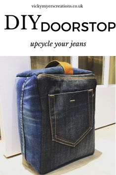 Create a door stop from denim upcycled from old jeans! Vicky Myers Creations has a tutorial showing how. She mixed denim scraps from several pairs of jeans which creates a cool effect with the di… Diy Doorstop, Doorstop Pattern, Denim Scraps, Leather Scraps, Open When, Diy Jeans, Recycle Jeans, Sewing Tutorials, Sewing Projects