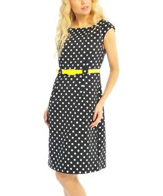 Look what I found on #zulily! Black & White Polka Dot Belted Shift Dress by Pink Ocean #zulilyfinds