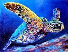 Turtle home decor, Coastal Sea Turtle Fine Art Giclee Gallery Wrapped Print painting by Award winning Artist Jen Callahan .