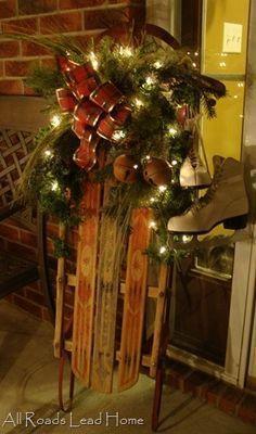 Holiday Porch Decor...Vintage Sled & Skates                                                                                                                                                                                 More