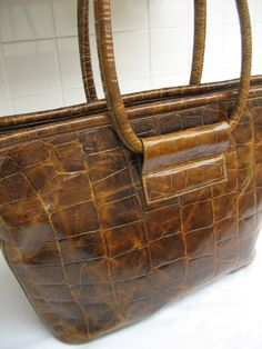 Vintage Furla Croc Brown Leather Large Shopper Tote by CLASSYBAG