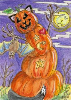 Pumpkin cat Pet bat Halloween moon ACEO EBSQ Kim Loberg Mini Art Fantasy kitty