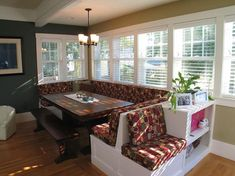 This three piece breakfast nook can help brighten up your space or fit in nicely with a dominantly white color scheme. #Kitchen Nook Ideas, Built In #Breakfast Nook, Diy Breakfast Nook Bench, #Dining #Nook Ideas, #Corner Breakfast Nook Ideas